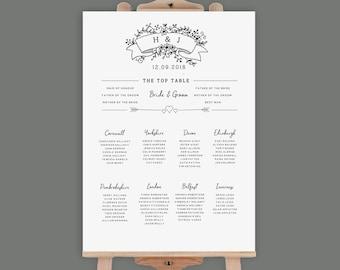 PDF Rustic Table Plan - XL Seating Chart - Alphabetical - 16x20 18x24 22x28 24x36 36x48 - Digital PDF Table Plan Template - A2 A1 A0