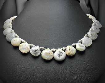 Hand Knotted Solar Quartz Beaded Necklace with Bali Sterling Silver Beads