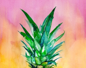 Pineapple on Ombre Pink and Yellow - Original Watercolor Painting - Illustration - Kitchen Art