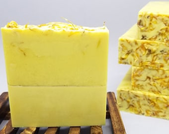 calendula soap, soap bar, natural soap, essential oil soap, favors, wedding gifr, brides maid gift, gift for her, skin care soap, goat milk