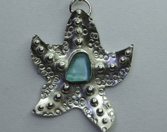 Extraordinary Starfish Pendant With Aqua Beach Glass