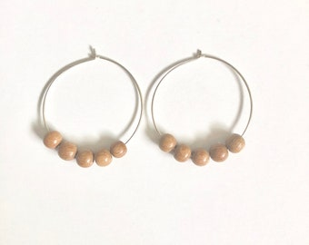 Wood bead earrings, wood hoop earrings, wood earrings, boho earrings, silver and wood earrings, silver hoops