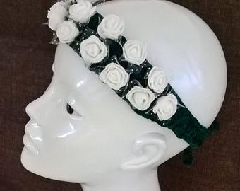 Crochet headband with soft rose