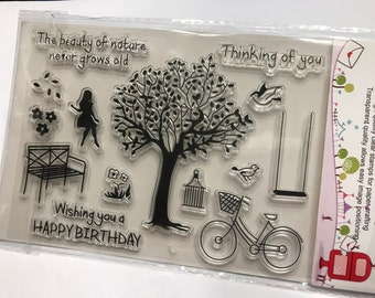 14 piece Happy Birthday Thinking of you clear stamp set, 15-85 mm