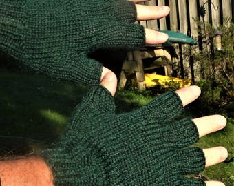 Half Finger Gloves Men's Dark Green Pure Baby Alpaca Half Finger Gloves Hand Knit Green Hand Warmers Men's Baby Alpaca Half Finger Gloves