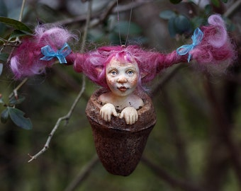Pixie girl Hanna handmade decoration pink hair