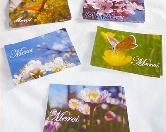 "Set of 10 small thank you cards 6 5x9.5cm ""Spring"""