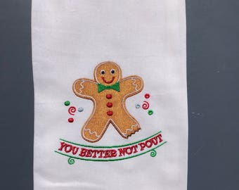 You Better Not Pout Tea Towel