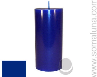 3 x 6.5 Dark Blue Classic Hand-poured Unscented Pillar Candles Solid Color