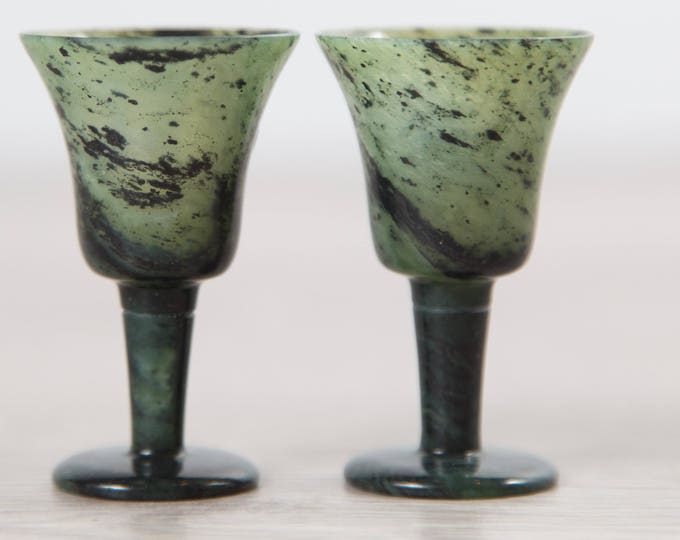 Chinese Jade Goblets - Pair of Green Marbled Translucent Speckled Apéritif Cups - New in Box