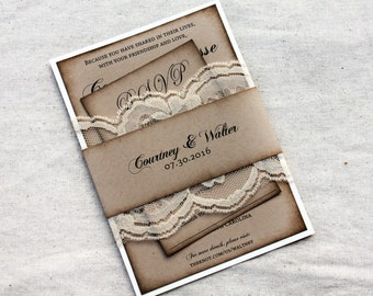 Wedding Invitations Rustic wedding Invitations Boho Wedding
