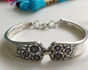 Spoon Bracelet. April. Wrist Size 6 to 9. Choose Your Size. Vintage Silverplate. Spoon Rings.