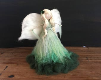 Angel tree topper, Needle felt Waldorf Christmas green and blonde-heirloom-Christmas gift