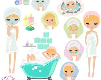 Cute Blonde Girl Spa Clip Art Set