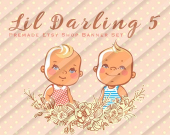 "Etsy Shop Banner Set - Graphic Banners - Branding Set - ""Lil Darling 5"""