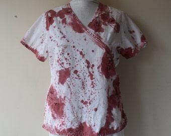 Women's Bloodied Scrub Top Wasteland Doctor Blood Splatter Scrub Top Zombie Wasteland Apocalypse Three Pockets Women's Medium