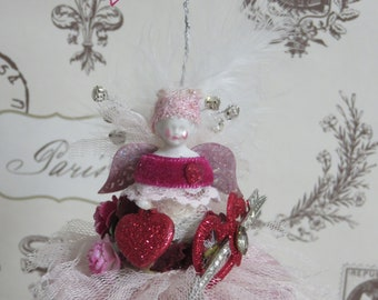 Mon Amie Winged Angel Keepsake Gift, I Love You Banner, Lace, Tulle, Feathers, Crystals, Roses, Vintage Brooch, Friend Gift, FREE USA SHIP