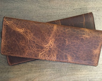 Business Check Size Bison Leather Checkbook Cover
