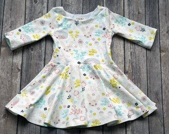 READY TO SHIP. Size 3T. 3/4 Sleeves. Spring Dress. Hedgehog Dress. Bunny Dress. Easter Dress. Toddler Dress. Little Girl Dress. Twirl Dress.