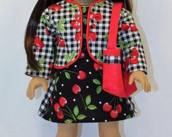 Cherries Jubilee Dress, 18 inch doll dress