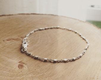Sterling Silver Beaded Satellite Bracelet -  Dainty Sterling Silver Bracelet - Perfect Layering - Minimalist Jewelry, Bridesmaid Gift