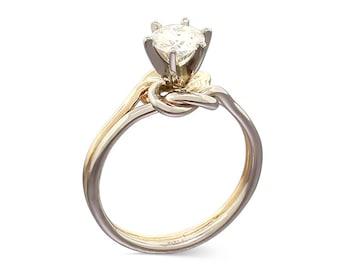 Forever One Moissanite Ring - Alternative Engagement Ring - Love Knot Ring - Moissanite Promise Ring for her - Mothers Day Gift