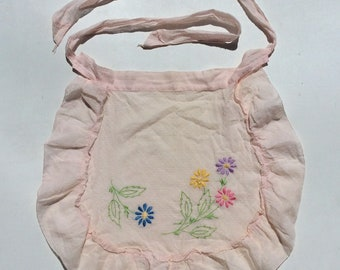 Vintage Ladies' Apron Embroidered Daisies on Peach Dotted Swiss Retro Kitchen