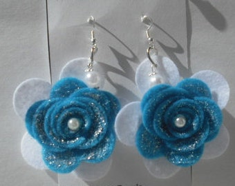 Mix Earring Set A5-Stud Earrings,Rose,Polymer clay,Plastic acrylic Beads,Felt Flower,Jewelry,Free Shipping.
