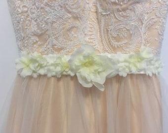 White Floral Sash