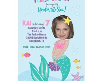 Little Mermaid Photo Birthday Invitation, Mermaid Birthday Invitation, Custom Photo Birthday Invitation