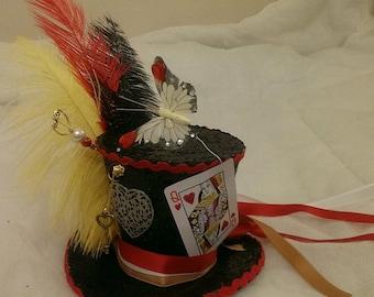 Queen Of Hearts Alice in Wonderland Handmade Bespoke Mini Top Hat Mad Hatter Tea Party Wedding Ascot