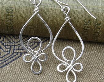 Celtic Loops Sterling Silver Wire Earrings, Celtic Jewelry, Celtic Knot Earrings, Celtic Earrings, Dangle Earrings, Women Gift for Her