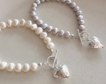 Grey Freshwater Pearl bracelet with Sterling Silver hammered heart and toggle