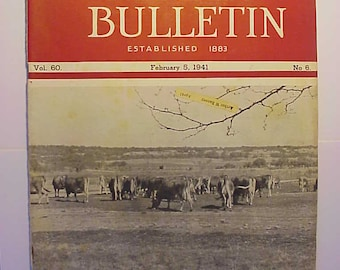 February 5, 1941 The Jersey Bulletin Magazine Brownwood, Texas Farm Cover Has 31 pages of ads and articles, Dairy Farm Magazine