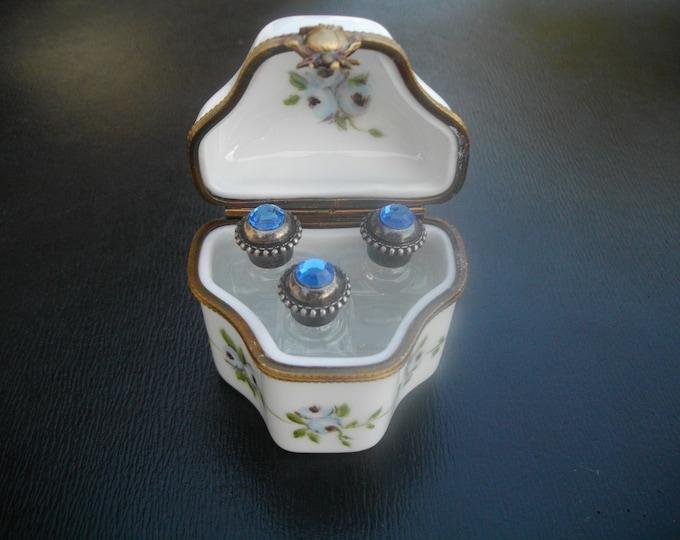 Collectible tin box / miniature/painted handmade / porcelain /flacons/