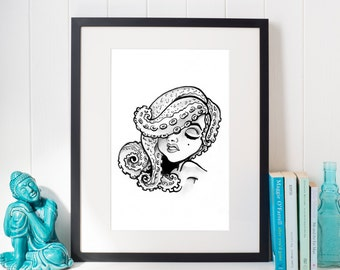 Tentacle Girl Illustration Print