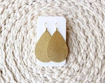 Gold Leather Drop Earrings, gold jewelry, gold earrings, gold leather earrings, the leather drop, leather earrings