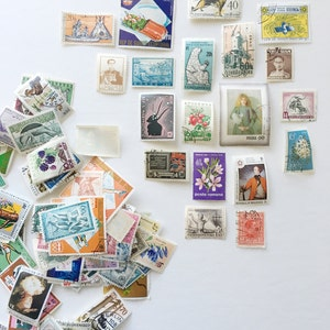 50 USED Off-Paper Vintage World Wide Postage Stamps -  Scrapbooking, Collage, Journaling, Paper Ephemera