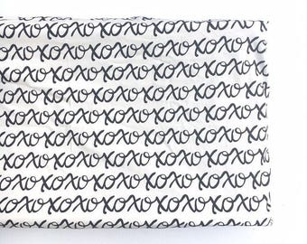 Crib Sheet or Changing Pad Cover- XOXOXO- monochrome crib sheet- monochrome nursery- monochrome changing pad cover- black and white nursery