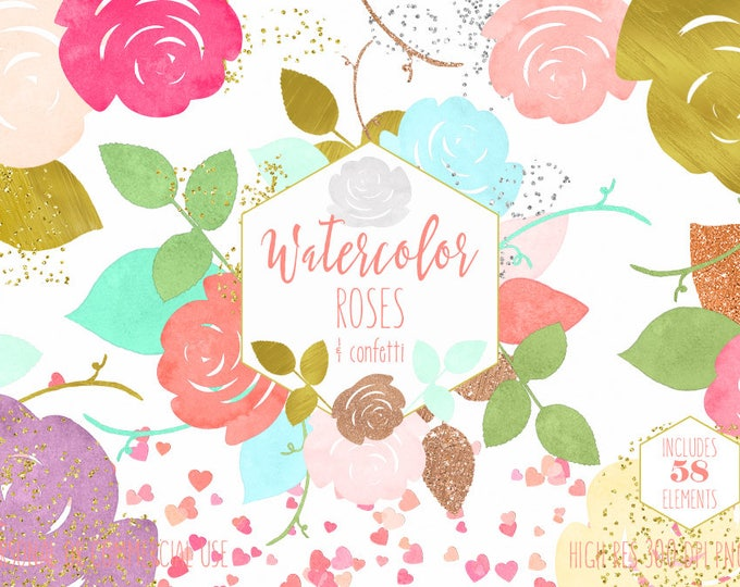 WATERCOLOR ROSES & HEART Confetti Clipart Commercial Use Clip Art Pink Peach Mint Metallic Rose Gold Watercolor Wedding Invitation Graphics