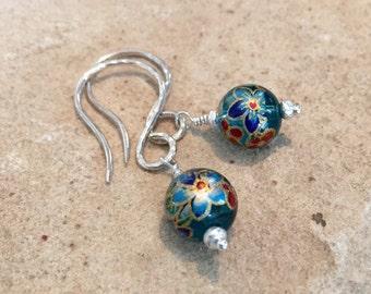 Blue drop earrings, glass bead earrings, dangle earrings, Hill Tribe silver earrings, silver dangle earrings, gift for her, gift for wife