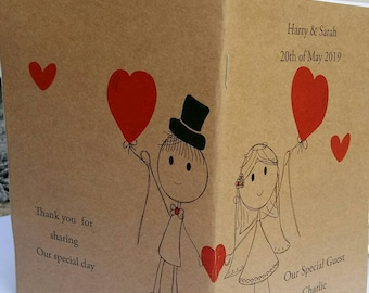 Personalised wedding activity or colouring book