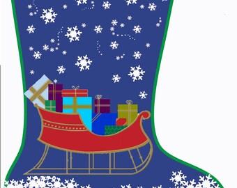 Personalized Needlepoint Sleigh Christmas Stocking Canvas