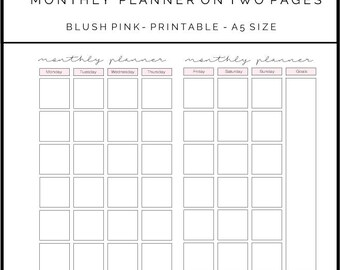 A5 Monthly Planner on Two Pages Blush Pink Design