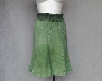 Green A Line Skirt, Small Green Skirt, High Waist Skirt, Grunge Boho Bohemian, Denim Festival Skirt, Romantic Floral Skirt