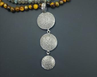 Pave Diamond 3 Circle Pendant - 925 Sterling Silver - 2.35 Cts Closly Setted Diamonds - BIG Pave diamond pendant - Boho Diamond Jewelry