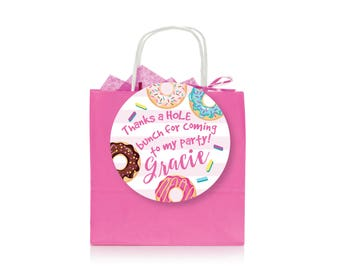 Donut Party Favor Tag - Gift Tag, Hang Tags, Thank You Tags, donuts, sleepover party, slumber party, custom text, printable