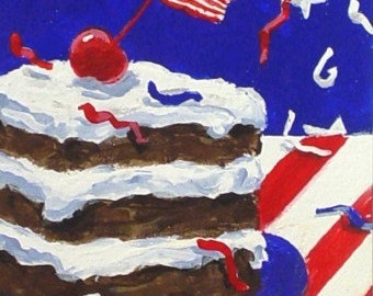 Original Painting * Aceo Mini Art By Rodriguez * CELEBRATION CAKE * Small Art Format