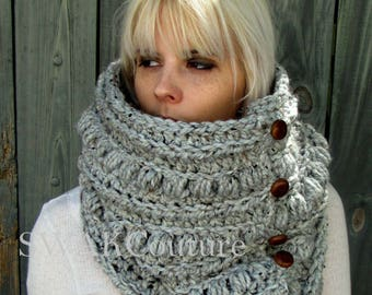 Womens Scarf Alpine Chunky Cowl Chunky Scarf Handmade Scarf Leather Button Wool Cowl Unisex Cowl Gray Tweed or Choose Your Color