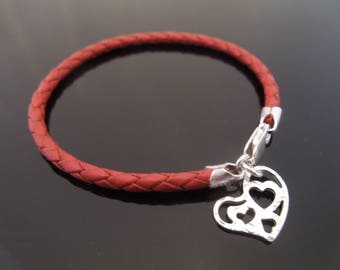 3mm Red Braided Leather Bracelet With 925 Sterling Silver Hammered Heart Charm